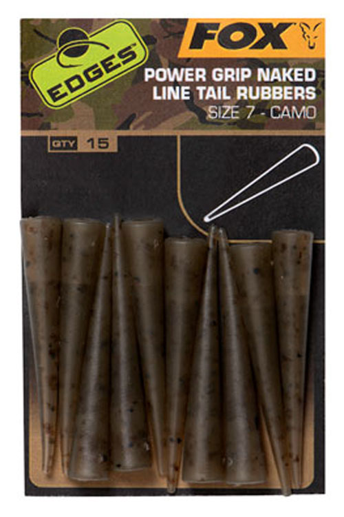 Fox EDGES Camo Power Grip Naked Line Tail Rubbers Size 7 3